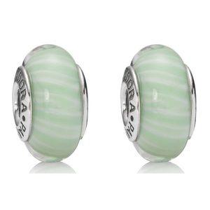 Set of 2 Pandora Green Candy Stripe Murano Charms